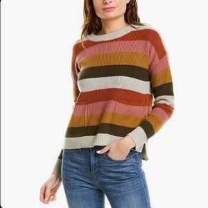 Madewell   High-low patch pocket stripped sweater